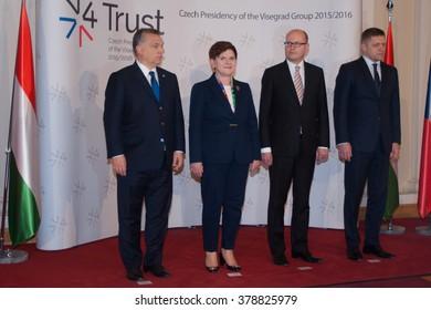 PRAGUE - FEBRUARY 15: From Left: Hungary PM Viktor Orban, Poland PM Beata Szydlo, Czech PM Bohuslav Sobotka and Slovakia PM Robert Fico pose prior their meeting in Prague, Feb. 15, 2016.