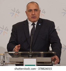 PRAGUE - FEBRUARY 15: PM of Bulgaria Boiko Borisov during the press conference after the V4 summit in Prague, Czech Republic, February 15, 2016.