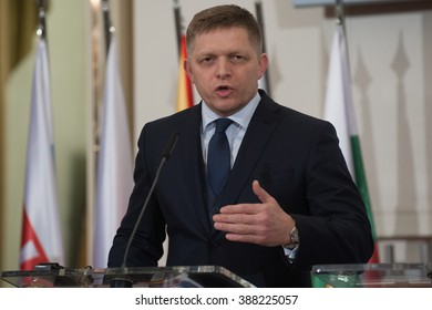 PRAGUE - FEBRUARY 15: Prime Minister of Slovakia Robert Fico attends the press conference after summit of the V4 with Bulgaria and Macedonia in Prague, Czech Republic, Monday, February 15, 2016.