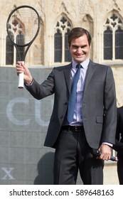 PRAGUE - FEBRUARY 20: Swiss professional tennis player Roger Federer during his visit in Prague, Czech republic, February 20, 2017.