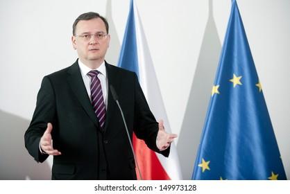 PRAGUE - FEBRUARY 22: Czech prime minister Petr Necas during press conference in Prague, Czech republic, February 22, 2013