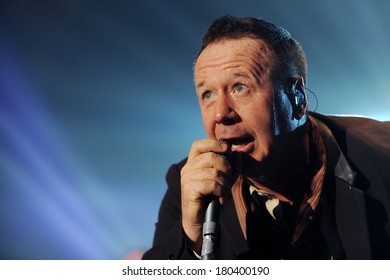 PRAGUE - FEBRUARY 28: Singer James Kerr of Simple Minds during performance in Prague, Czech republic, February 28, 2014