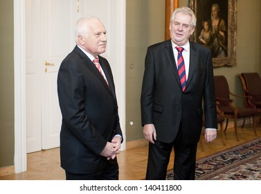 PRAGUE - FEBRUARY 5: Czech president Vaclav Klaus (left) and new-elected president Milos Zeman (right) during their meeting in Prague castle, Czech republic, February 5, 2013