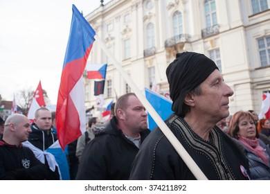 PRAGUE - FEBRUARY 6: Hundreds of people demonstrate against the Islamisation of Europe at Hradcanske namesti in Prague, Czech Republic, on February 6, 2016.