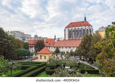 Prague Franciscan garden square (Frantiskanska zahrada) and Church of Our Lady of Snows (kostel Panny Marie Snezne), Czech Republic - Shutterstock ID 490393414