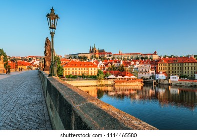 Prague historical center with castle, Hradcany, Charles bridge and Vltava river, Prague, Czech Republic