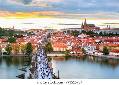 Prague historical center with castle,Hradcany,Charles bridge and Vltava river, Prague, Czech Republic