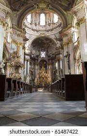 Prague -  interior of baroque church of st. Nicholas - Little quarter