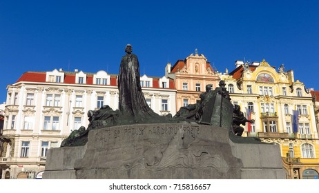 Prague Jan Hus memorial monument statue in Old Town Square, designed by Ladislav Saloun to honor religious martyr burned at the stake in 1415