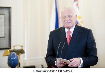 PRAGUE - JANUARY 1: Czech president Vaclav Klaus during his last New Year's speech in Prague castle, Czech republic, January 1, 2013.