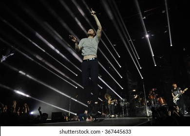 PRAGUE - JANUARY 16: Dan Reynolds of US rock band Imagine Dragons performs during a concert at the O2 Arena in Prague, Czech Republic, on January 16, 2016.