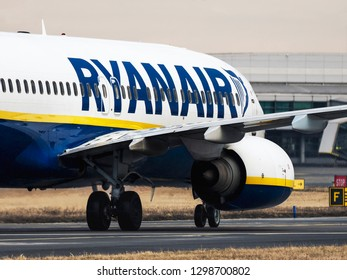 PRAGUE - JANUARY 20, 2018: Ryanair Boeing 737 at Vaclav Havel airport Prague (PRG) JANUARY 20, 2018 in Prague, Czech Republic. Ryanair Ltd. is an Irish low-cost