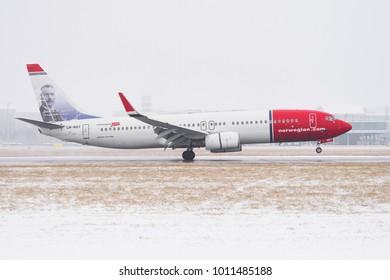 PRAGUE - JANUARY 21, 2018: Norwegian Boeing 737at Vaclav Havel airport Prague (PRG) JANUARY 21, 2018 in Prague, Czech Republic.