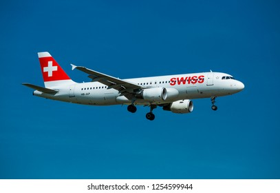 PRAGUE – JANUARY 21, 2018: Swiss Air Airbus A320 landing at Vaclav Havel Airport Prague (PRG) JANUARY 21, 2018 in Prague, Czech Republic.Swiss is the national airline of Switzerland.