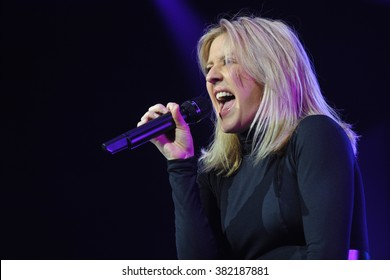 PRAGUE - JANUARY 30: English singer and songwriter Ellie Goulding performs during a concert at the O2 Arena in Prague, Czech Republic, on January 30, 2016.