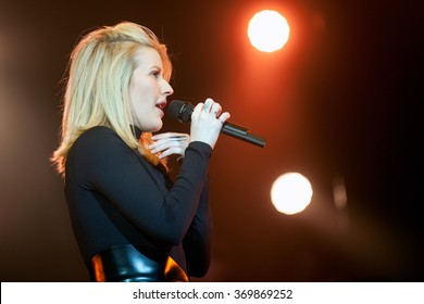 PRAGUE - JANUARY 30: Popular English singer Ellie Goulding during her performance in Prague, Czech republic, January 30, 2016.