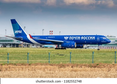 PRAGUE - JULY 06: Aviastar-TU Tupolev Tu-204 take off at PRG Airport on July 6, 2018 in Prague, Czech Republic. Aviastar-TU is a passenger and cargo charter airline.