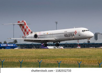 PRAGUE - JULY 06: Volotea Boeing 717 r landing at PRG Airport on July 6, 2018 in Prague, Czech Republic. Volotea is the spanish low cost airline.