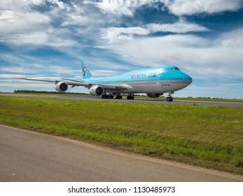 PRAGUE - JULY 07, 2018: Korean air Boeing 747-8 at Vaclav Havel airport Prague (PRG) July 07, 2018 in Prague, Czech Republic.