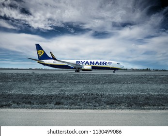 PRAGUE - JULY 07, 2018: Ryanair Boeing 737 takes off from Vaclav Havel airport Prague (PRG) JULY 07, 2018 in Prague, Czech Republic. Ryanair Ltd. is an Irish low-cost