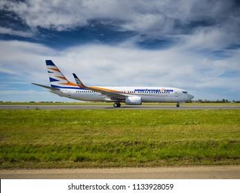 PRAGUE - JULY 07, 2018: Smartwings Boeing 737 at Vaclav Havel airport Prague (PRG) JULY 07, 2018 in Prague, Czech Republic.