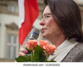 PRAGUE - JULY 12, 2018 :  Member of the Chamber of Deputies of Czech Republic Miroslava Nemcova at protest rally which was accompanying a vote of confidence on the new government of Andrej Babis.