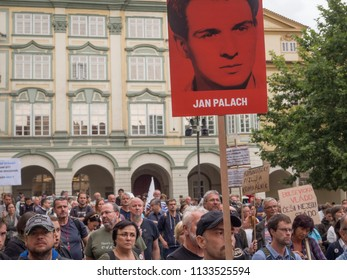 PRAGUE - JULY 12, 2018 :  Protests of hundreds of people accompanied in Prague a vote of confidence on the new government of Andrej Babis.