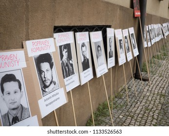 PRAGUE - JULY 12, 2018 :  Protests of hundreds of people accompanied in Prague a vote of confidence on the new government of Andrej Babis. Pictured banners with photos of people executed by communists