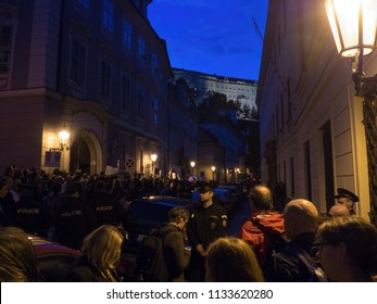 PRAGUE - JULY 12, 2018 :  Protests of hundreds of people accompanied a vote of confidence on the new government of Andrej Babis. At night the protest was held directly next to the Parliament of the CR