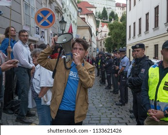 PRAGUE - JULY 12, 2018 : Protests of hundreds of people accompanied a vote of confidence on the new government of Andrej Babis. At night the protest was held directly next to the Parliament of the CR.