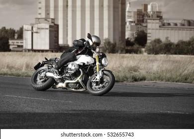 PRAGUE - July 14: biker riding BMW R NineT motorbike with blur movement, July 14, 2016 at Prague, Czech Republic.