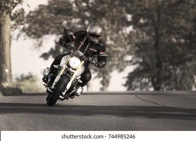 PRAGUE - July 14: biker riding BMW R NineT motorbike with blur movement, July 14, 2016 at Prague, Czech Republic