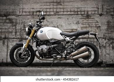 PRAGUE - July 14: BMW R NineT motorbike, July 14, 2016 at  Prague, Czech Republic.