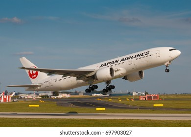 PRAGUE - JULY 17: B777 Japan airlines take off from PRG in Prague, CZE on July 17, 2017. Japan Airlines ( JAL ) operates almost 900 daily flights.