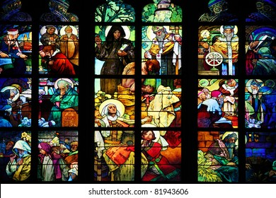 PRAGUE - July 18, 2010: Stained glass drawn by Alfons Mucha in 1931 for the St Guy's cathedral of the castle of Prague on July 18, 2010 in Prague, Czech Republic.