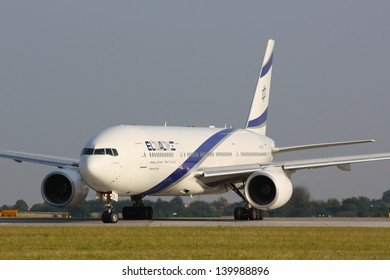 PRAGUE - JULY 20: B777 EL AL taxi to takes off PRG in Prague, Czech Republic on July 20, 2010. .EL AL has one of the best safety and tight security in the industry