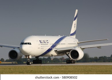 PRAGUE - JULY 20:B777 El Al taxi for take off PRG in Prague, CZE on July 20, 2010. EL AL has one of the best safety and tight security in the industry