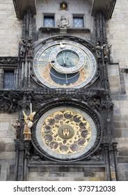 Prague- july 23, 2014: Prague Astronomical Clock (Orloj) in detail in the Old Town of Prague