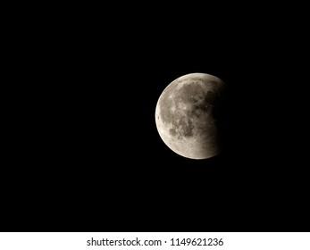 PRAGUE - JULY 28, 2018: Lunar Eclipse ,JULY 28, 2018 in Prague, Czech Republic.