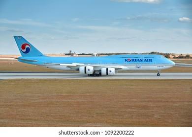 PRAGUE - July 29, 2017: Korean Air Boeing 747-8 at Vaclav Havel Airport Prague on July 29, 2017. Korean air is the flag carrier airline of South Korea.