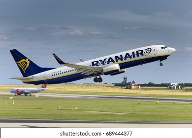 PRAGUE - JULY 29, 2017: Ryanair Boeing 737-8AS  takes off from Vaclav Havel airport Prague (PRG) JULY 29, 2017 in Prague, Czech Republic. Ryanair Ltd. is an Irish low-cost airline.