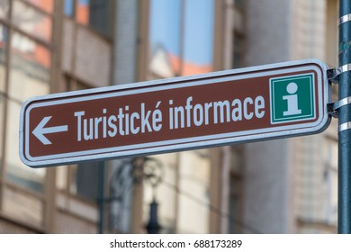 PRAGUE - JULY 29, 2017: Street sign for Tourist information on July 29th, 2017 in Prague, Czech Republic