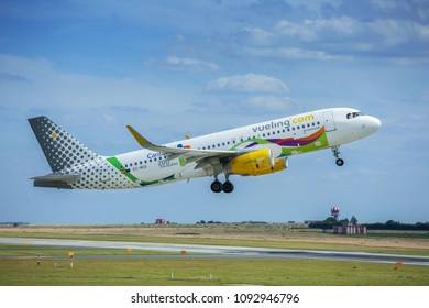PRAGUE - July 29, 2017: Vueling Airbus A320 at Vaclav Havel Airport Prague on July 29, 2017.