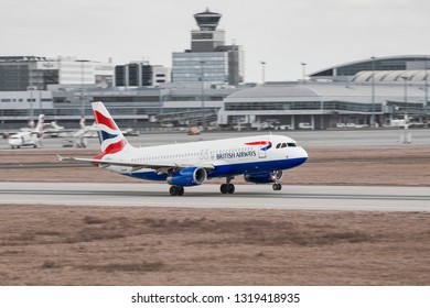 PRAGUE - JULY 29: British Airways Airbus A319 at Vaclav Havel Airport Prague on July 29, 2017.