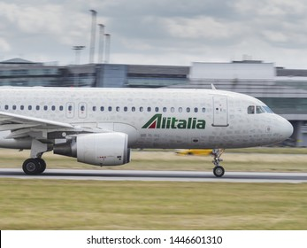 PRAGUE - July 8,2019: Alitalia Airbus A320 airliner with Employee Signatures Livery at Prague Airport on July 8, 2019 in Vaclav Havel Airport Prague, Czech Republic.