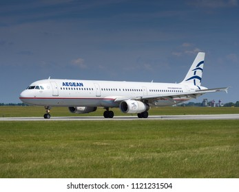 PRAGUE - JUNE 15, 2018: Aegean Airbus A321 at Vaclav Havel Airport Prague (PRG) JUNE 15, 2018 in Prague, Czech Republic
