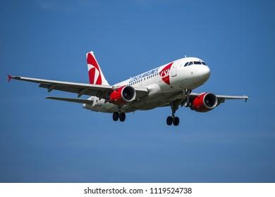 PRAGUE - JUNE 15, 2018: Czech airlines Airbus A319 landing at Vaclav Havel Airport Prague (PRG) JUNE 15, 2018 in Prague, Czech Republic