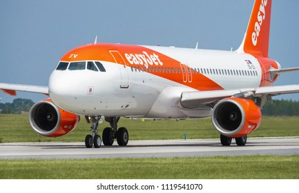 PRAGUE - JUNE 15, 2018: EasyJet Airbus A319 at Vaclav Havel Airport Prague (PRG) JUNE 15, 2018 in Prague, Czech Republic