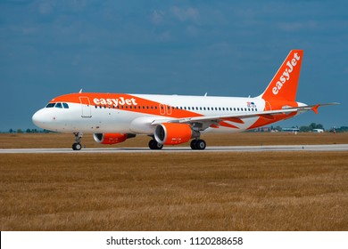 PRAGUE - JUNE 15, 2018: Easyjet Airbus  A319 at Vaclav Havel Airport Prague (PRG) JUNE 15, 2018 in Prague, Czech Republic
