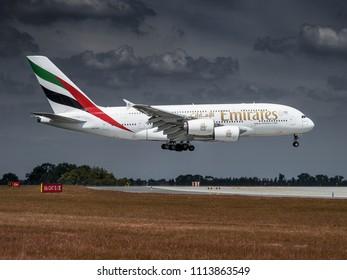 PRAGUE - JUNE 15, 2018: Emirates Airbus A380 landing at Vaclav Havel Airport Prague (PRG) JUNE 15, 2018 in Prague, Czech Republic